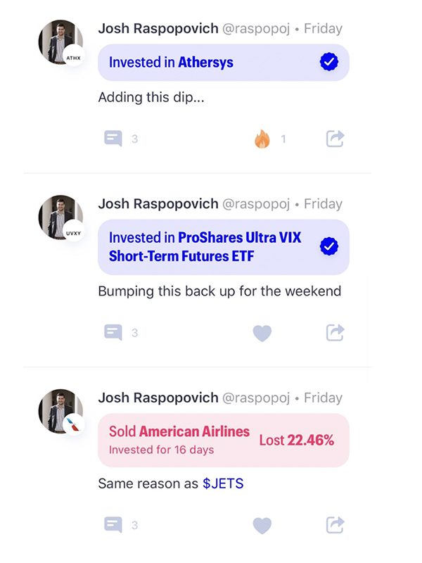 Josh trading on public app