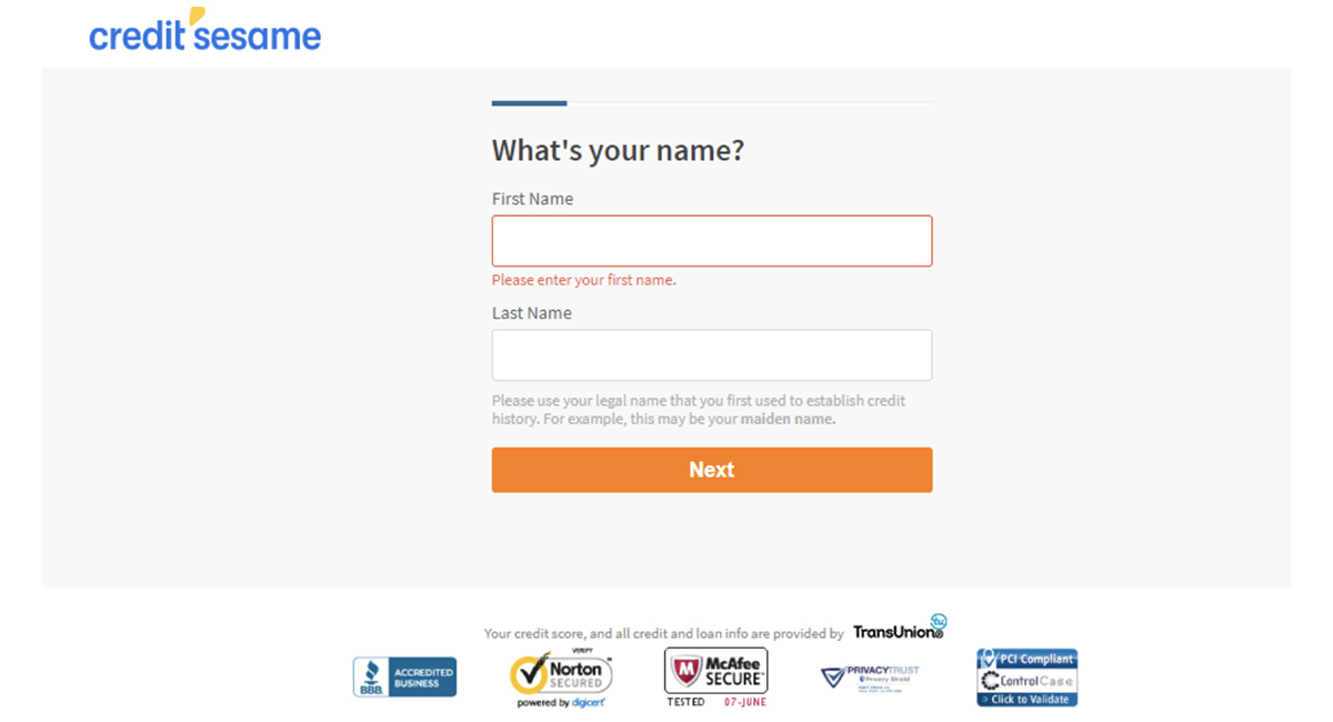 creditsesame first name submit