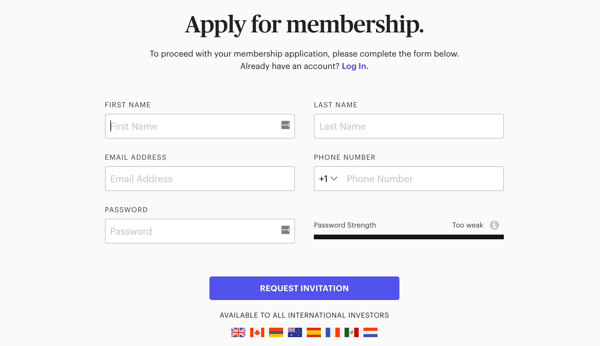 Masterworks Membership Screen