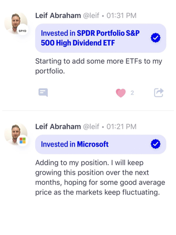 Leif trading on Public app