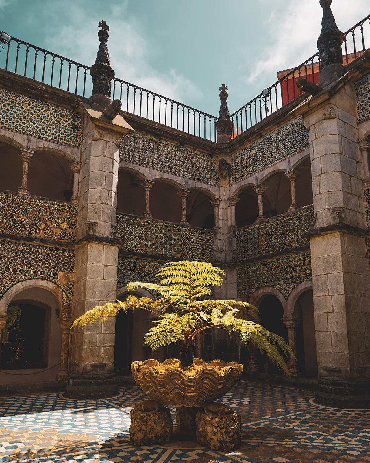 The courtyard at the Pena Palace's cloister.