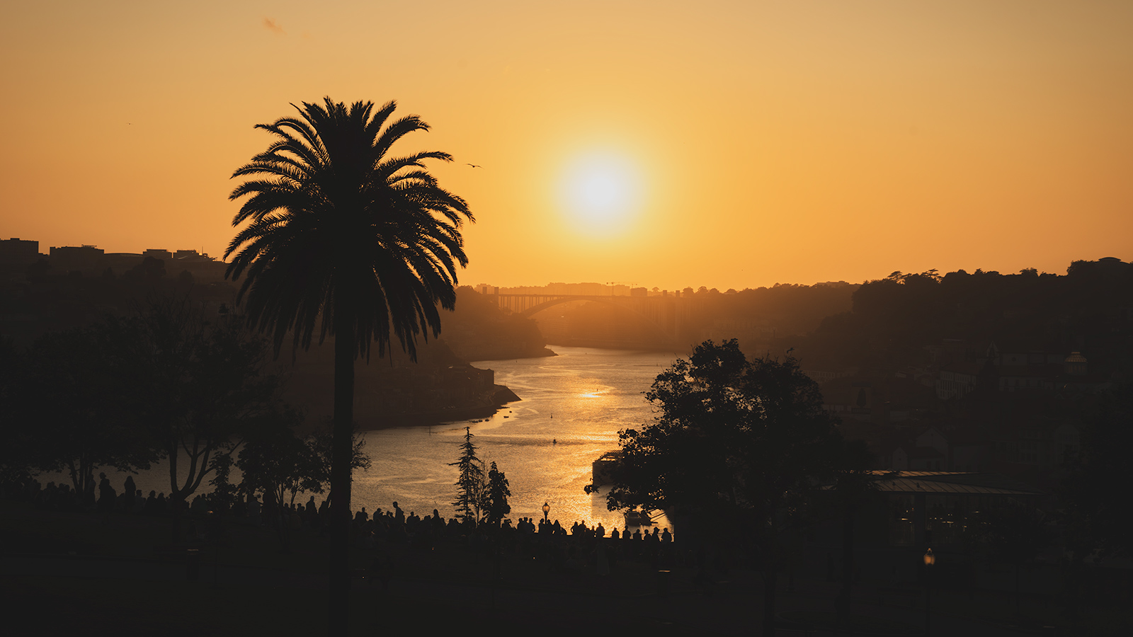 Sunset over Douro River viewed from Miradouro da Serra do Pilar, Porto, Portugal