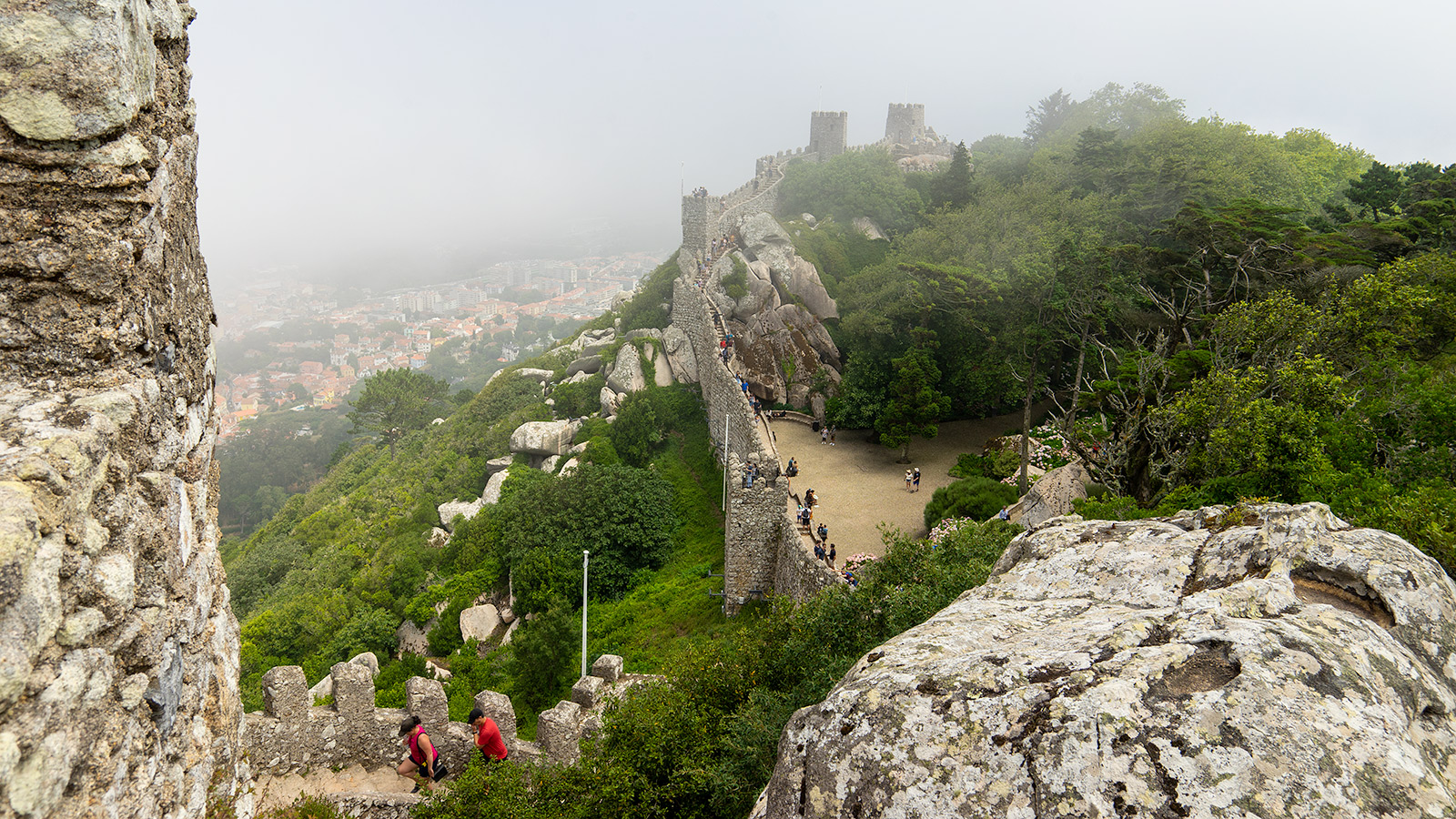Foggy views from the Castle of the Moors (Castelo dos Mouros). On good weather, the views are amazing.