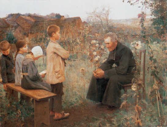 The Catechism Lesson, by Jules-Alexis Muenier