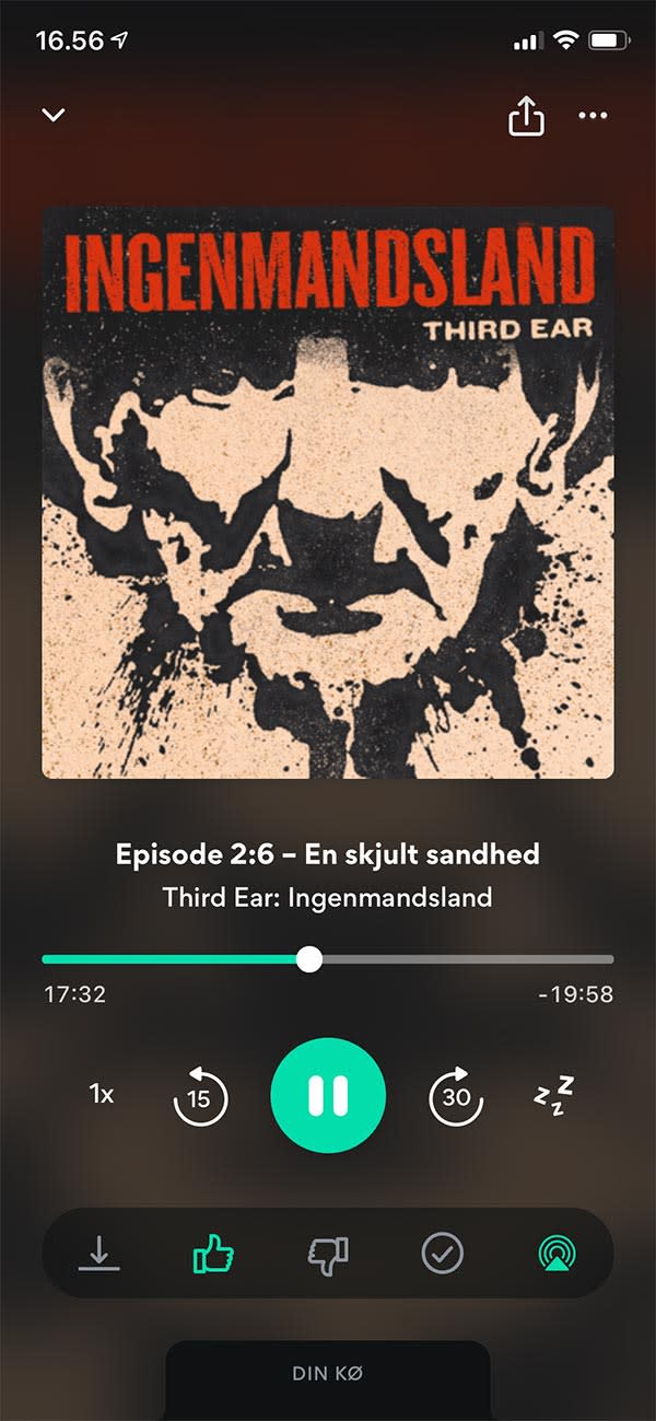 Picture showing Podimo playing Danish podcast Ingenmandsland by Third Ear