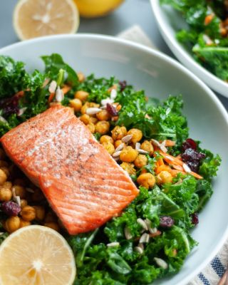Kale Salad with Salmon and Curried Chickpeas