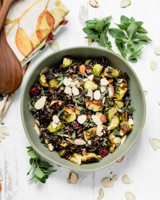 Wild Rice, Brussels Sprout and Cranberry Salad