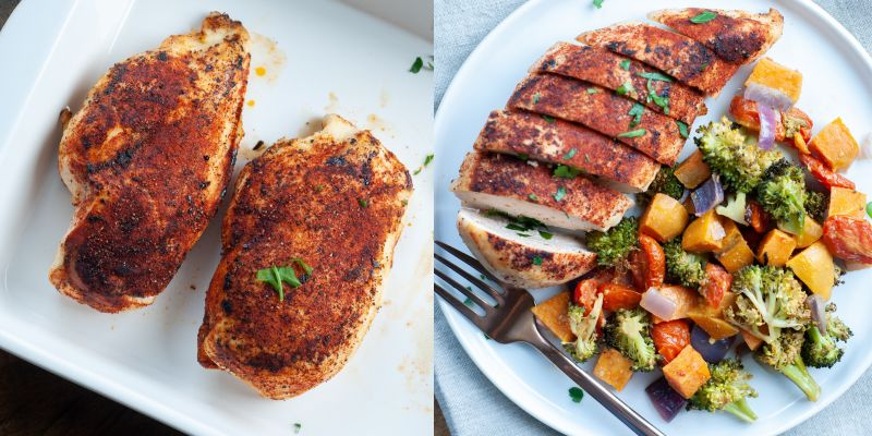 smoky baked chicken dishes side by side and with veggies