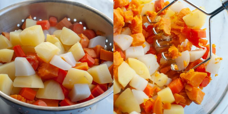 mashed root veggies during cook and prep process