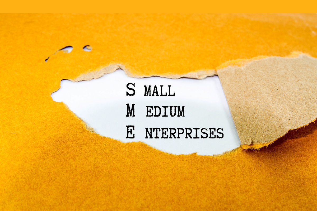 SME text on brown envelope