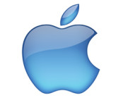 Apple inc logo in blue