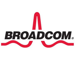 Broadcom logo in black and red