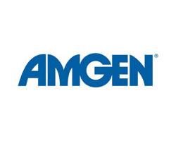 Amgen logo in blue