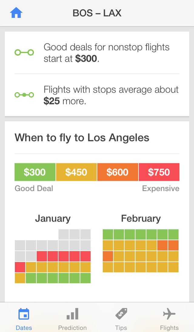 Hopper App Screenshot - Flight Prediction (BOS to LAX)