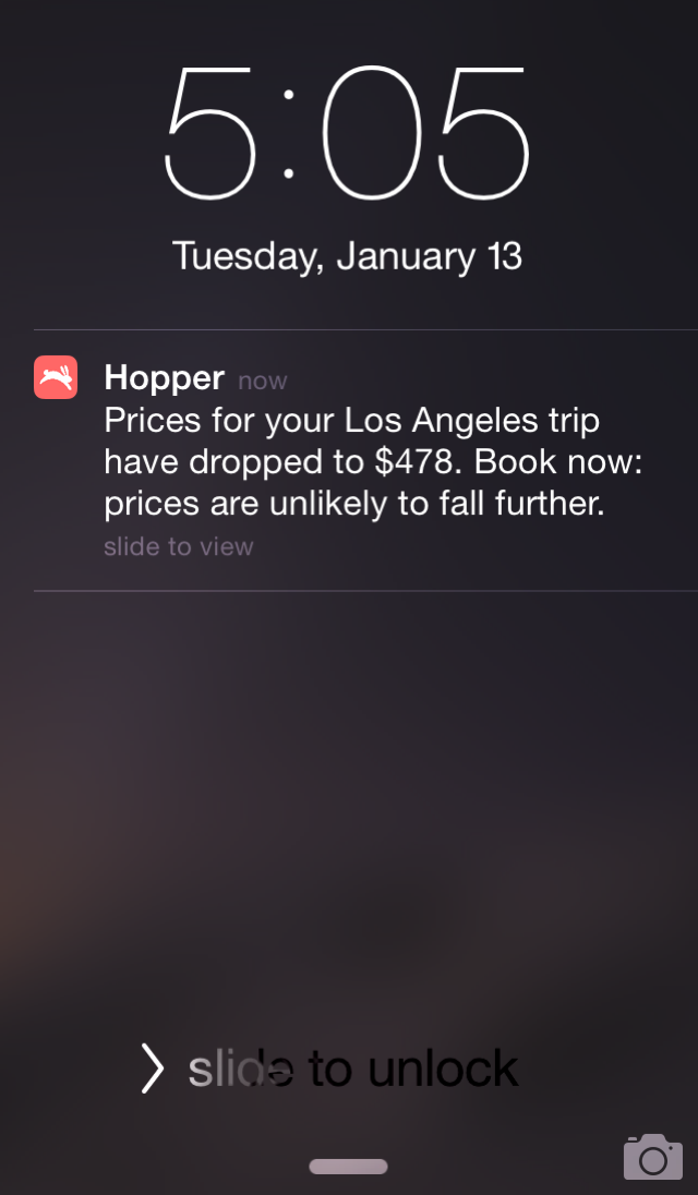 Hopper App Screenshot - Alerts