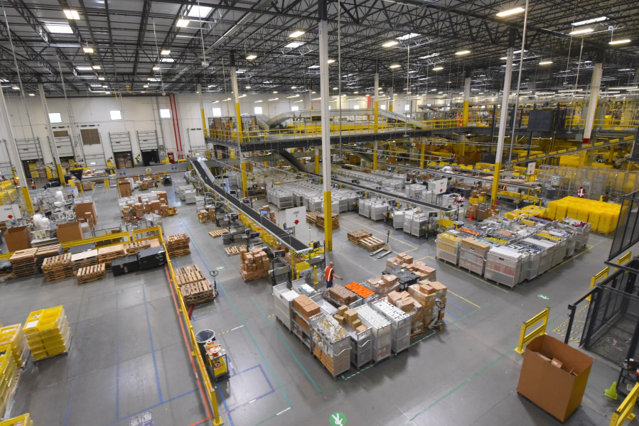 A photo of the interior of an Amazon fulfillment center.