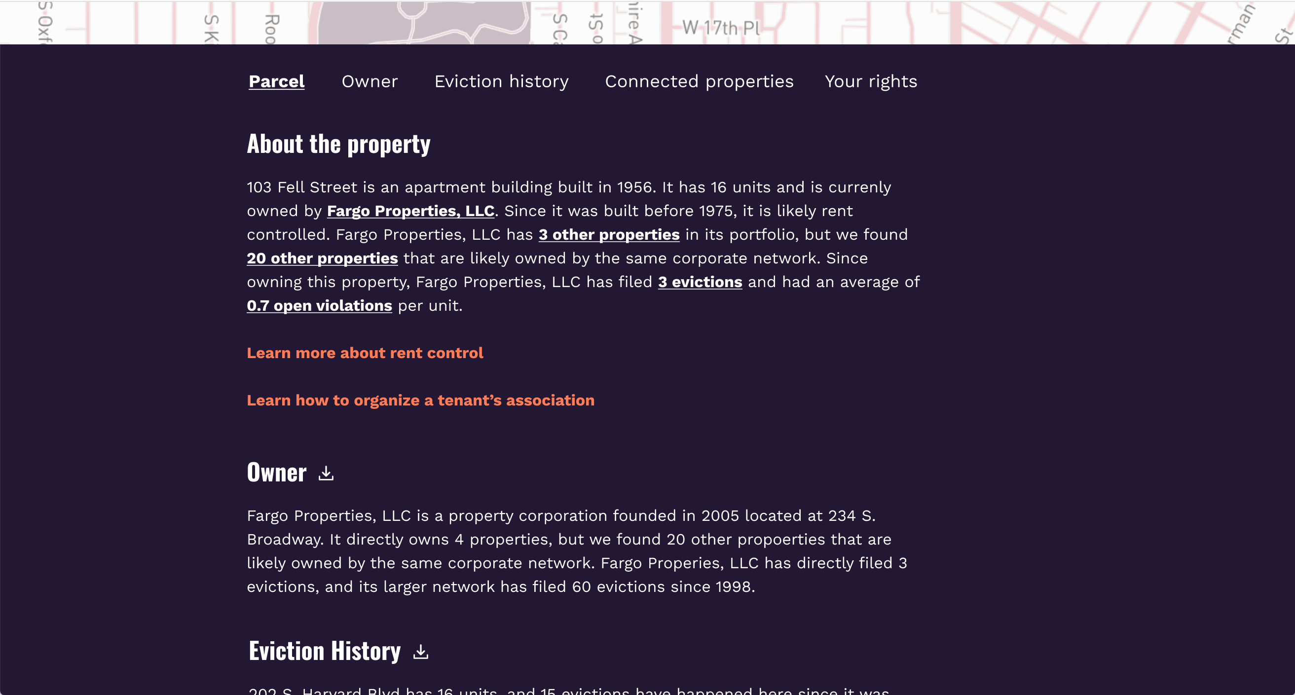 A screenshot from Evictorbook showing details about the selected property, including owner, eviction history, and links to information about rent control and organizing a tenant's association.