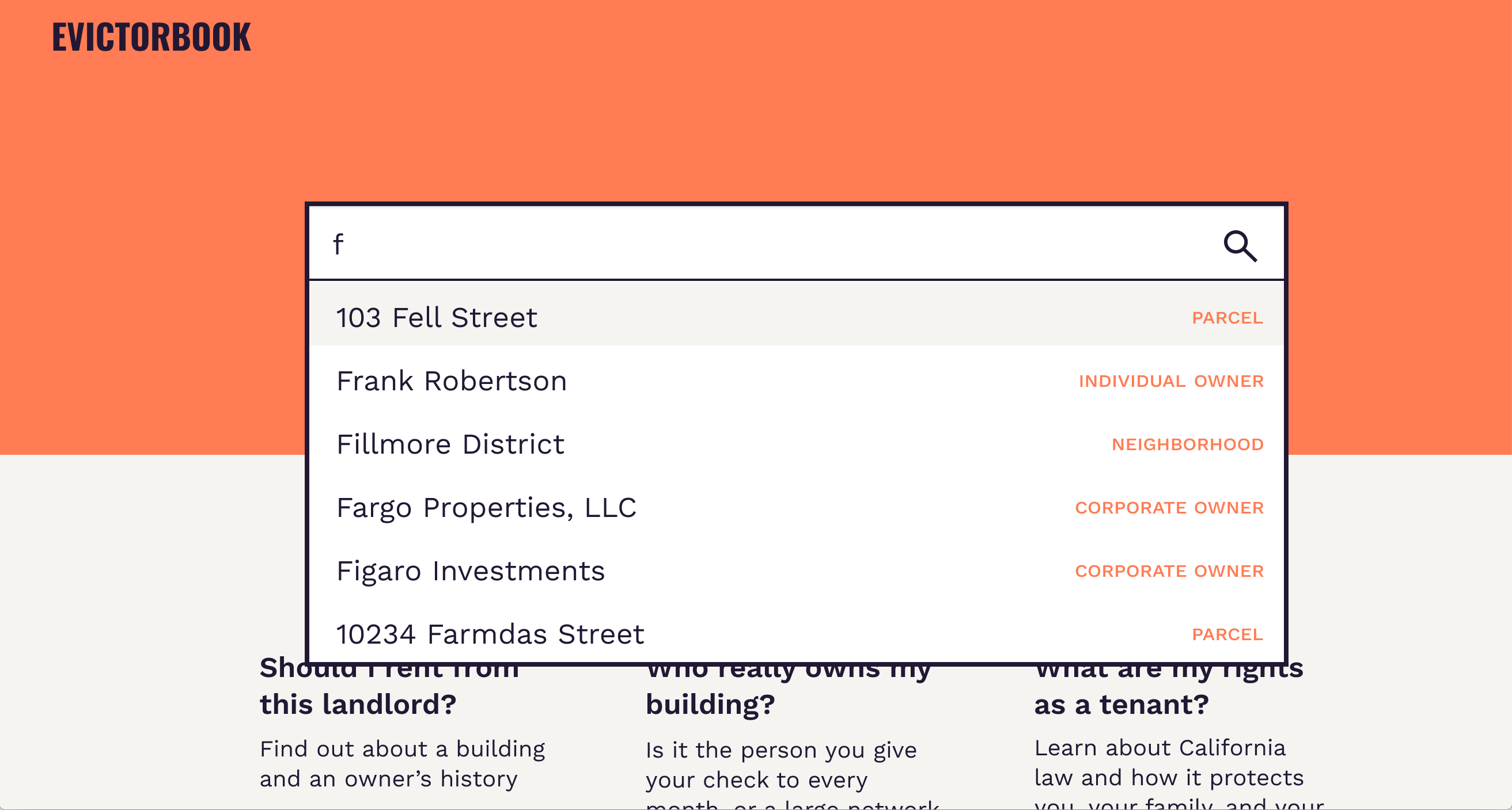 A mockup of Evictorbook showing a webpage with a search dropdown listing different properties in San Francisco