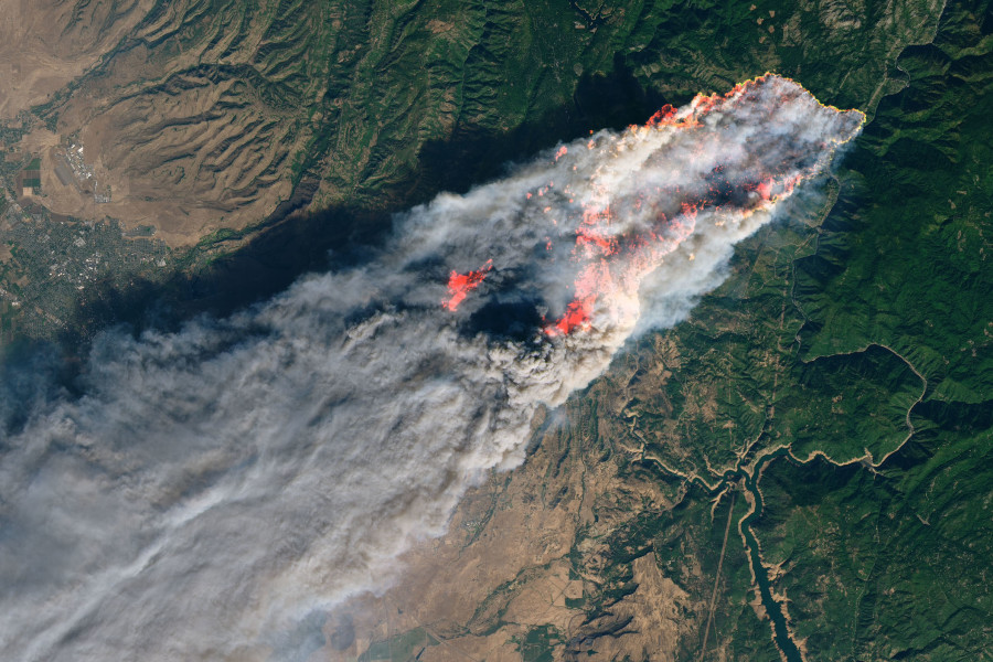 A satellite photo of a massive fire.