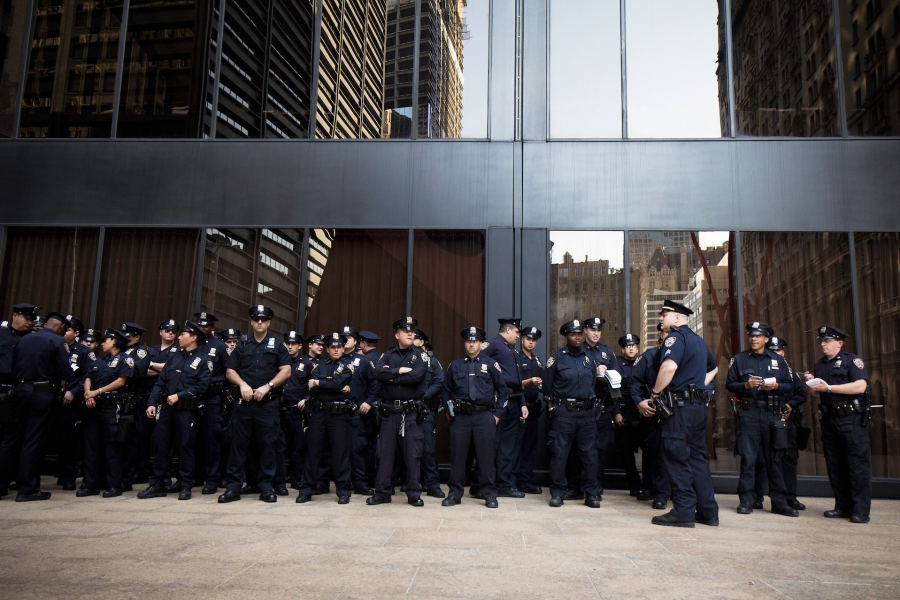 A photo of a bunch of cops.