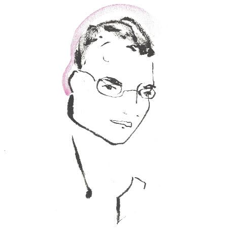 A black-and-white brush-drawn portrait of Steve Phillips, with short hair and glasses.