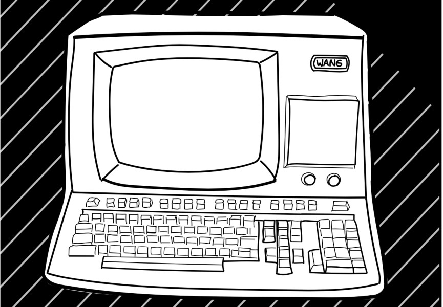 A handdrawn image of a Wang computer, with an integrated monitor and keyboard.
