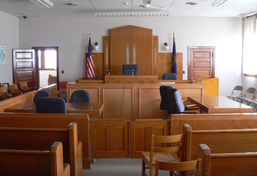 A photo of a courtroom.