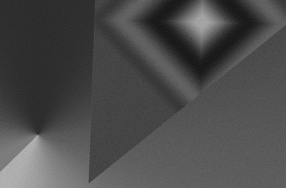 An abstract image of a greyscale gradient triangle on top of a greyscale gradient background.