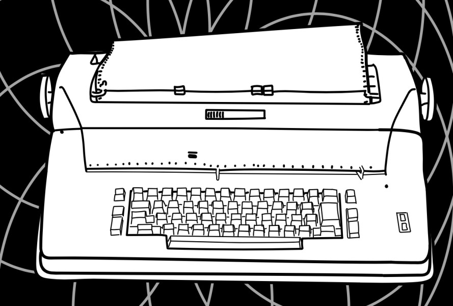 A hand drawing of a blind terminal, which looks like a typewriter