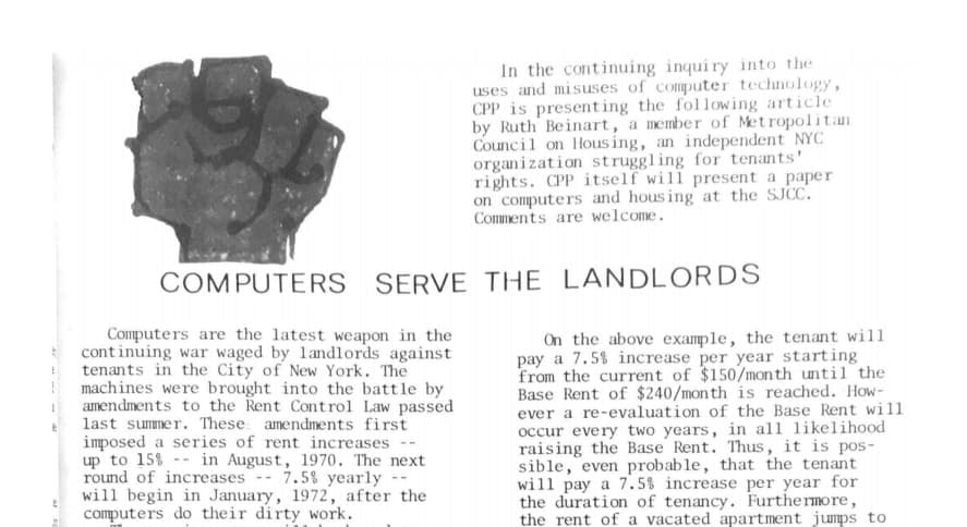 Scan of Interrupt, the CPP newsletter. Includes a fist over a title: