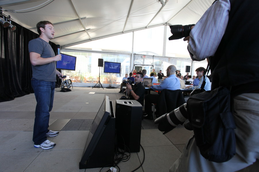 Mark Zuckerberg, founder and CEO, shows off the new messaging system in Facebook in front of press.