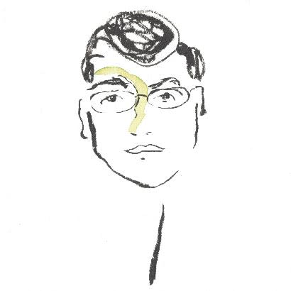 A black-and-white brush-drawn portrait of Ernesto Falcon, with short hair and glasses.