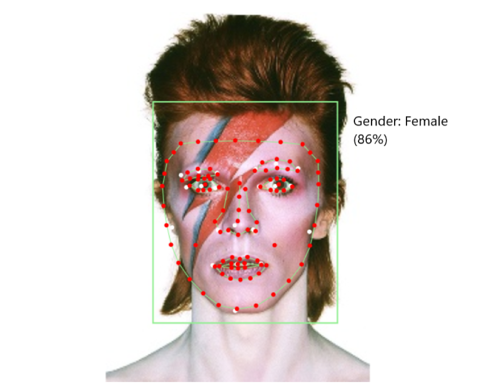 A portrait of David Bowie with visible facial recognition analysis points including red dots around the eyes, nose, mouth, and face outline; with a green bounding box. A label to the right reads the algorithm's conclusion: