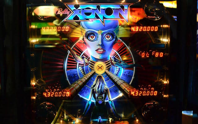 A photo of Xenon, the first pinball table to feature a woman's voice.