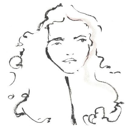 A black-and-white brush-drawn portrait of Laurie Allen, face framed by long curly hair.