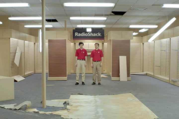 A still from a Super Bowl commercial by RadioShack, showing a shuttered store.
