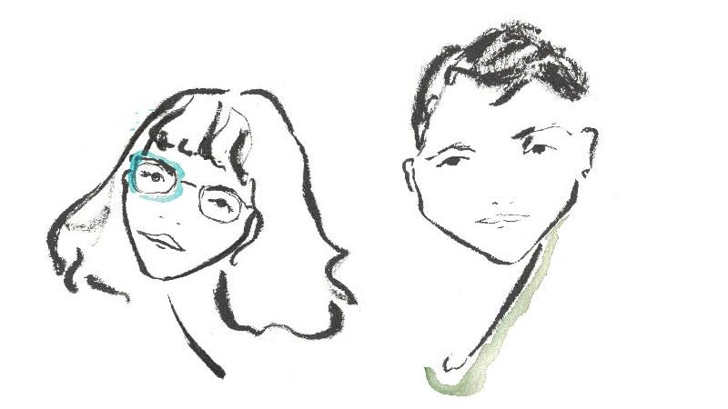 Two minimal, brush-drawn black-and-white portraits with pops of color: one face with shoulder-length hair and glasses on the left, and another with short hair on the right.