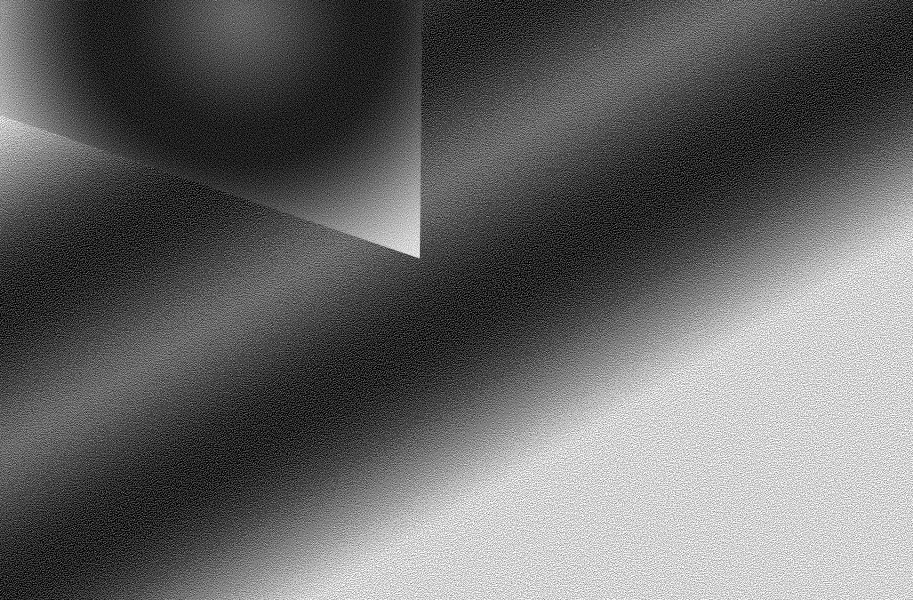 An abstract composition of a triangle over a silver and grey gradient