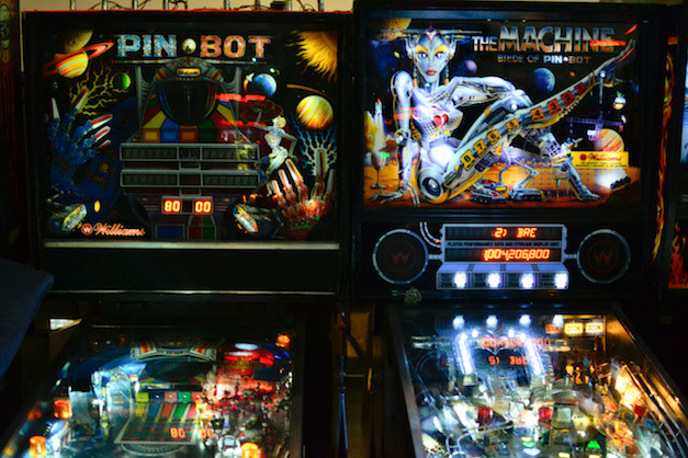 A photo of pinball machines.