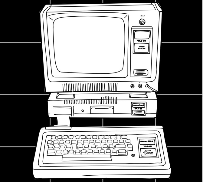 A hand drawing of a TRS-80 computing terminal