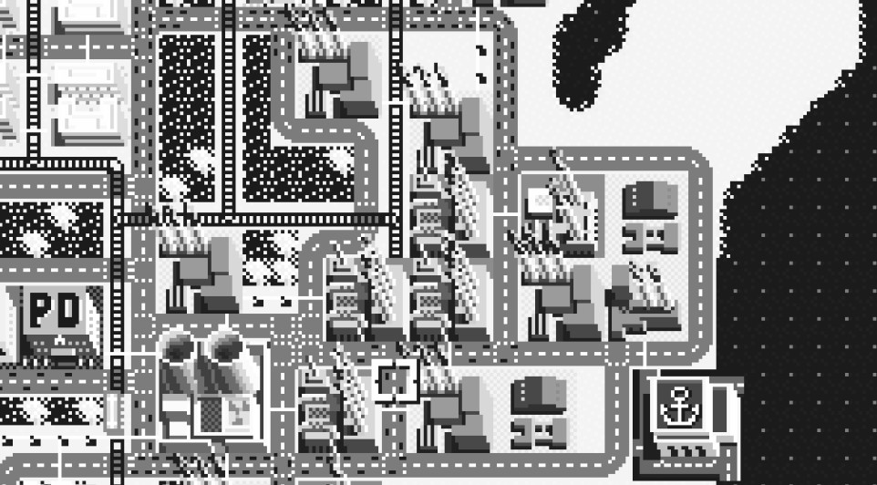 A black and white isometric view of an early SimCity cityscape.