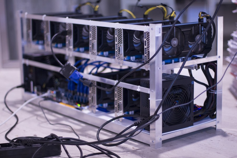 A photo of a Bitcoin mining rig.
