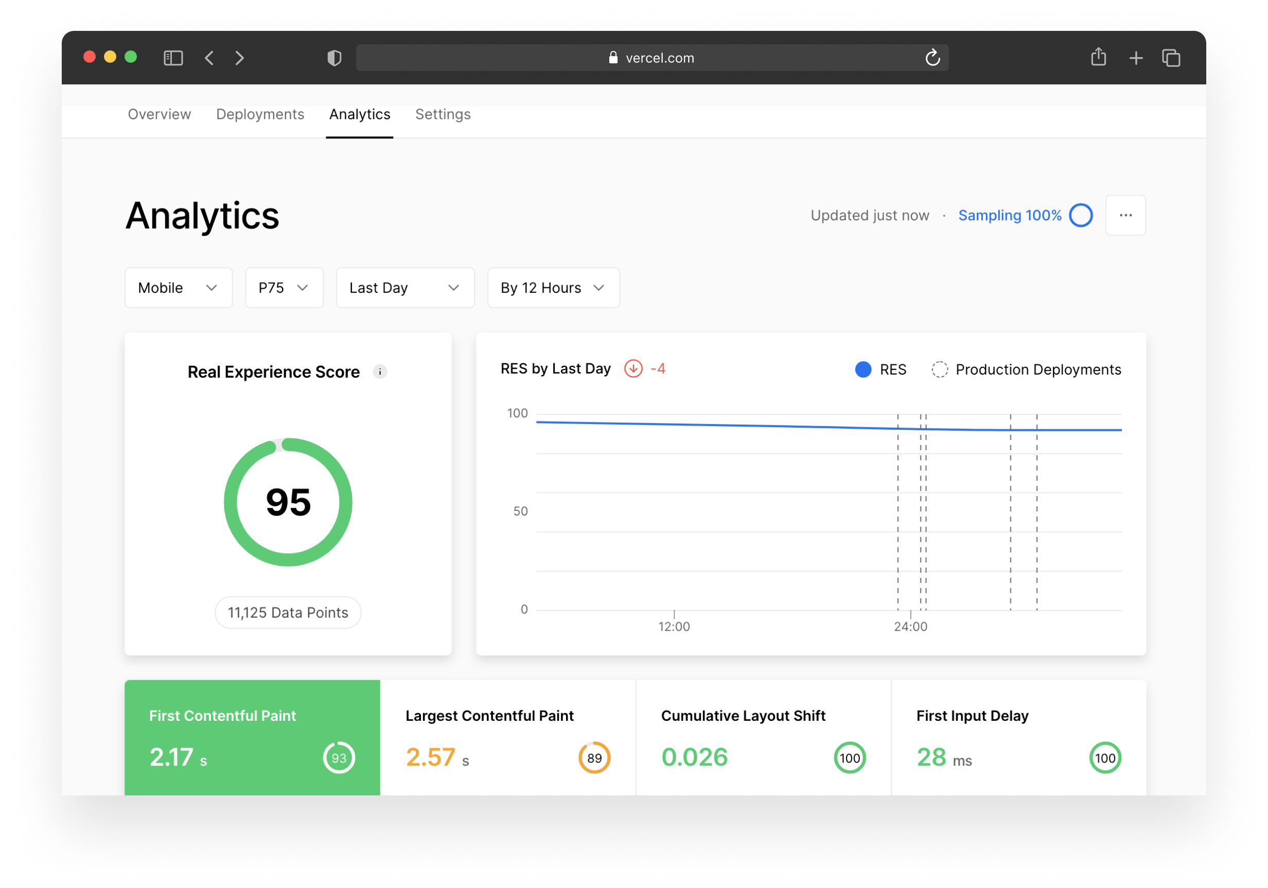 The Vercel dashboard has an Analytics tab where you can go to inspect your Real Experience Score if you are a Pro or Enterprise customer.