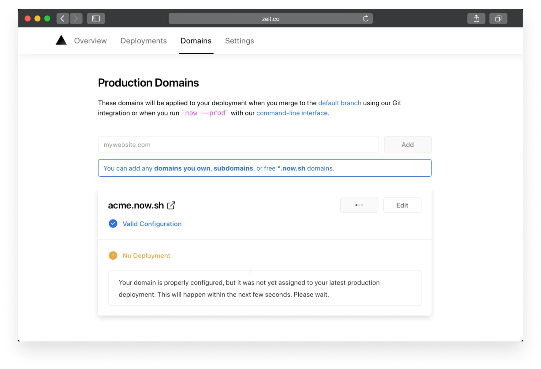 The interface guides you in setting up production domains for your project.