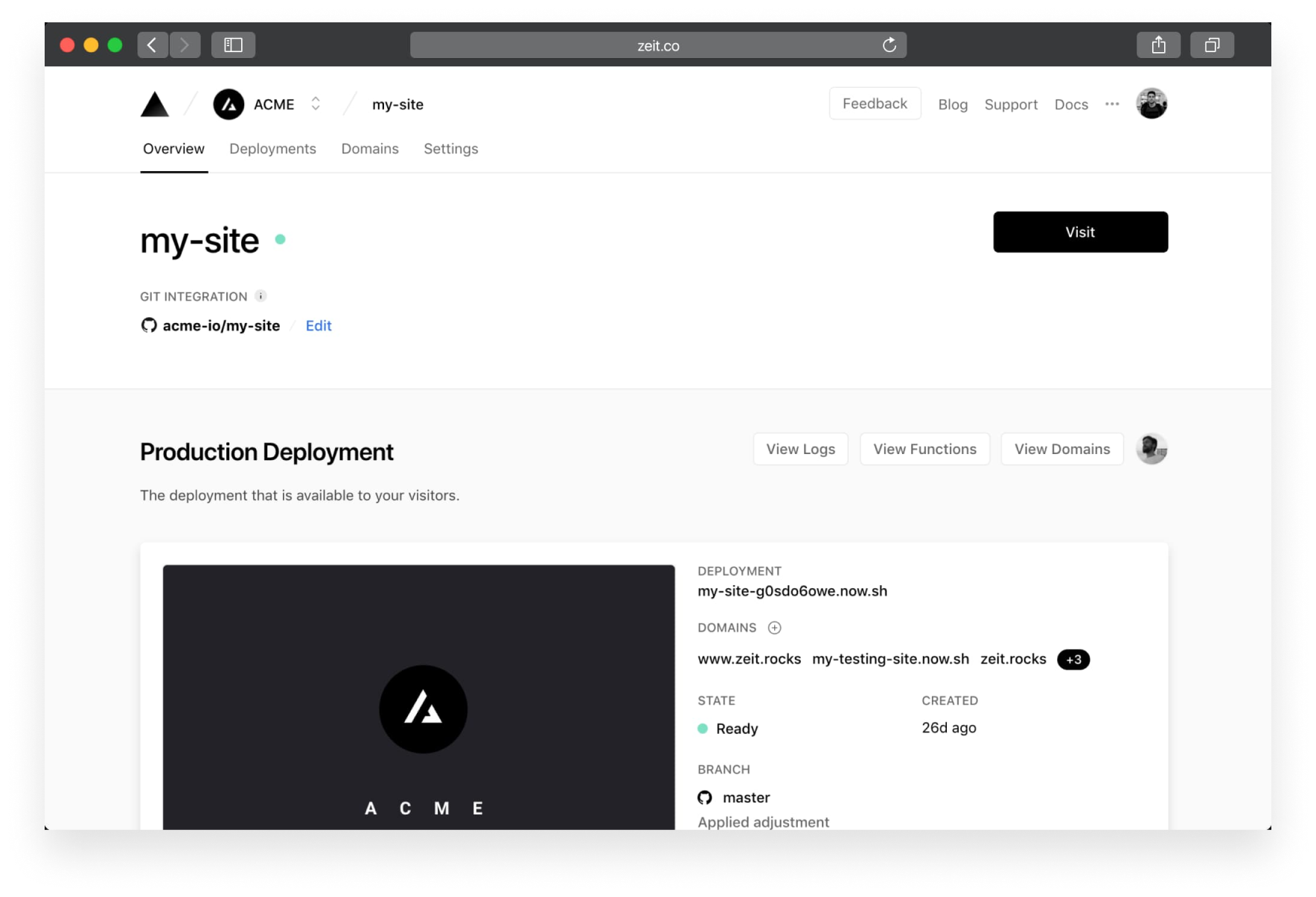 An overview of your live production deployment.