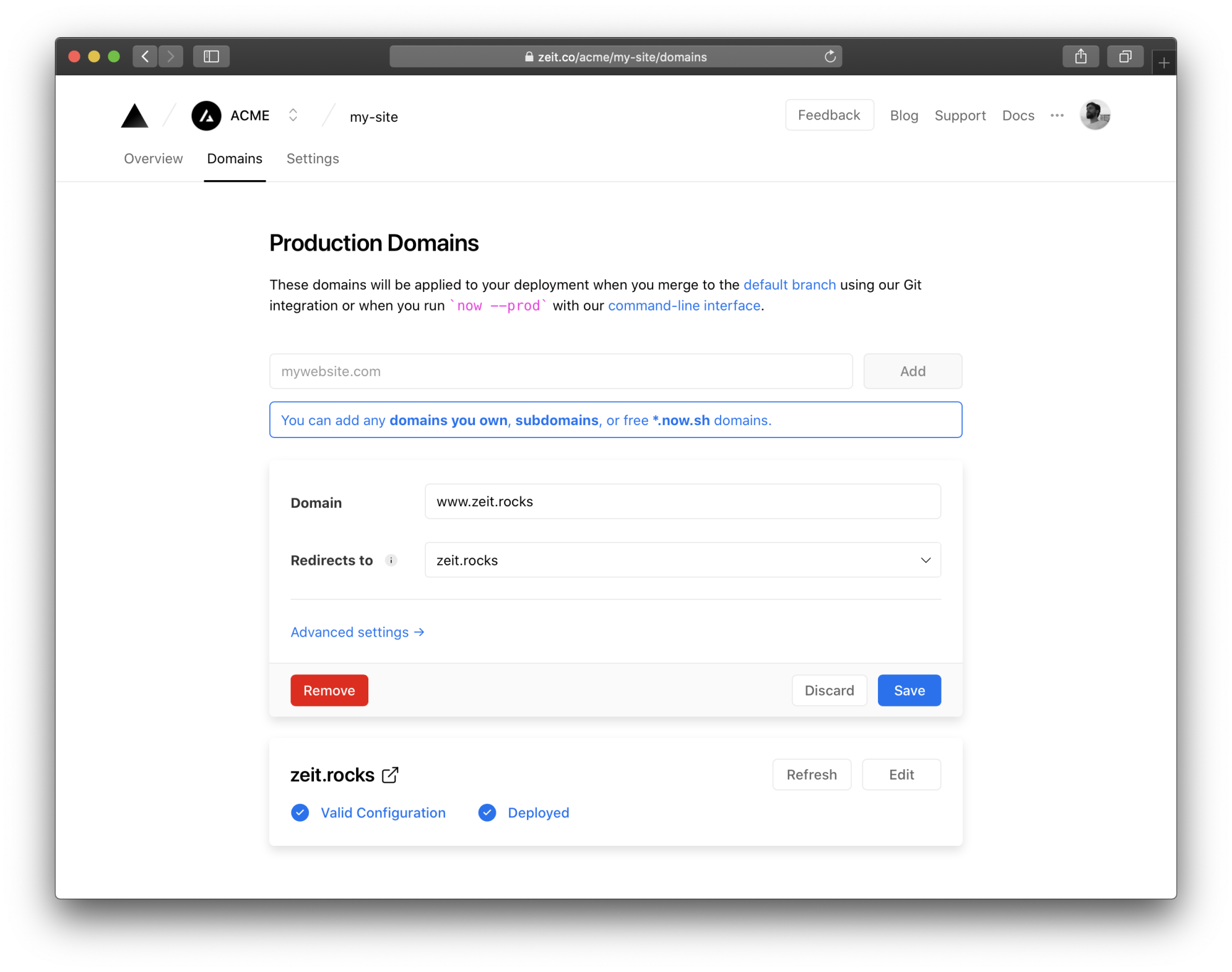 Only domains added to your project can be selected.