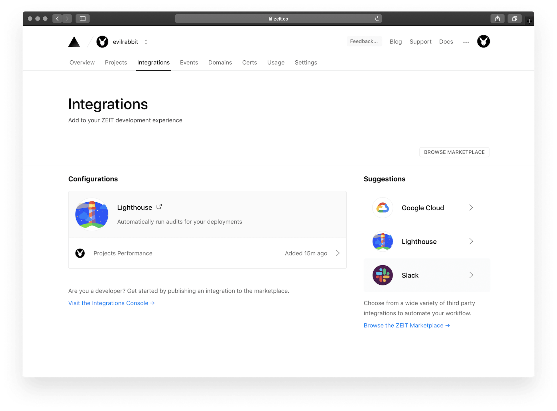 The Integrations Dashboard lists all configurations for integrations you've added.