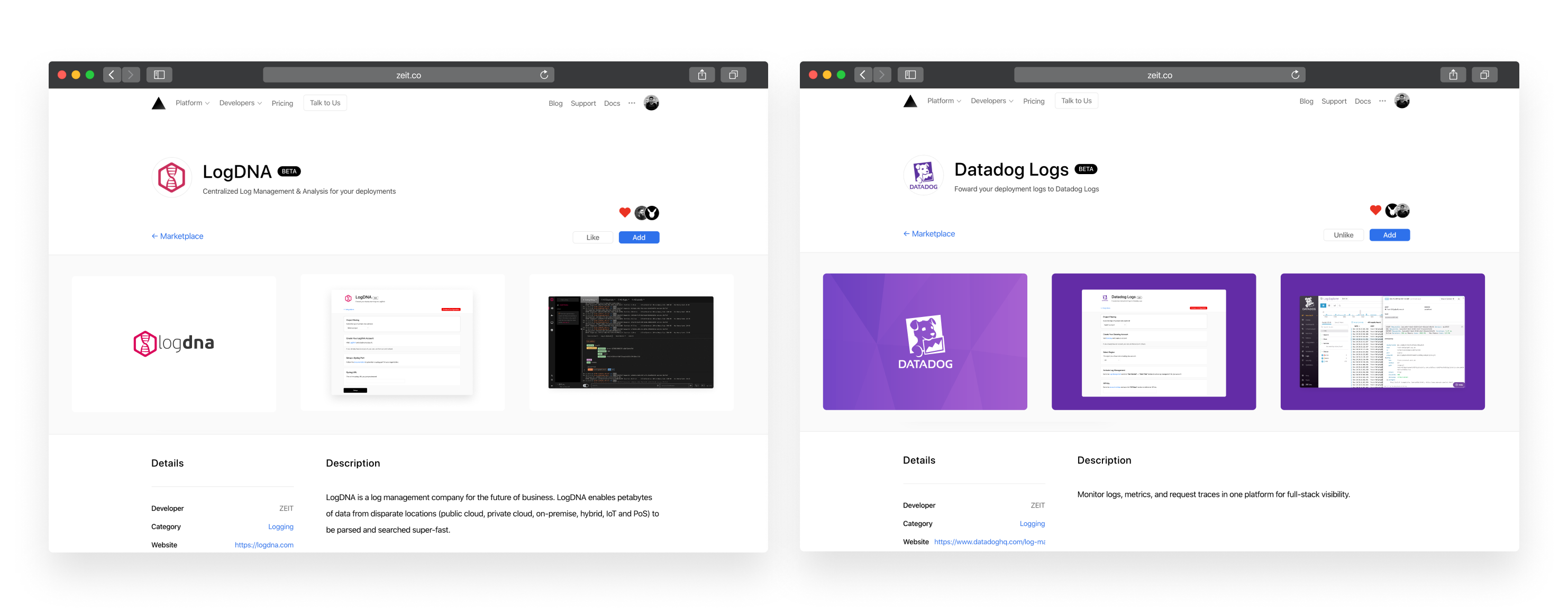 The LogDNA and Datadog integrations available in the ZEIT Integrations marketplace.