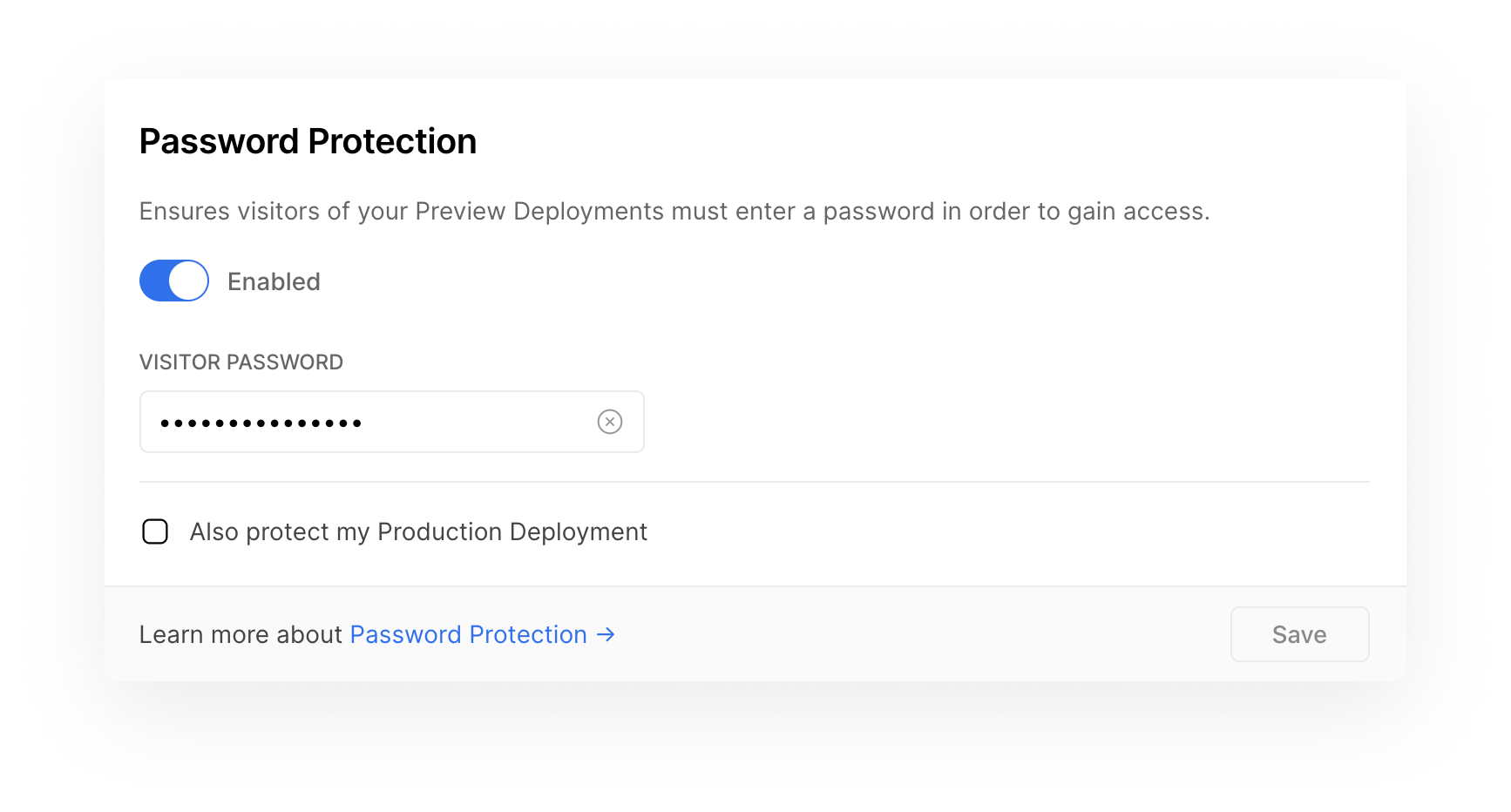 """The new """"Password Protection"""" field in the Project Settings."""