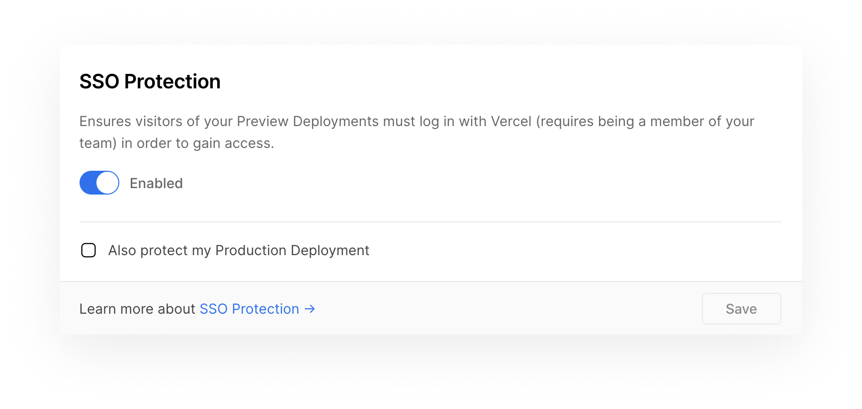 """The new """"SSO Protection"""" field in the Project Settings."""